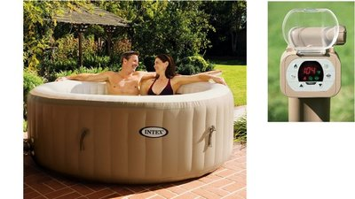Intex 28404 PureSpa Bubble Therapy Jacuzzi 4-Persoons Set 196/145x71cm